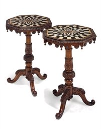 A PAIR OF VICTORIAN OAK AND SP