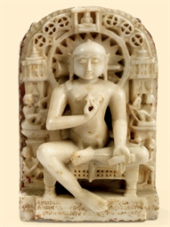A WHITE MARBLE FIGURE OF A JAI