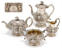 AN UNUSUAL WILLIAM IV SILVER FOUR-PIECE TEA AND COFFEE SET