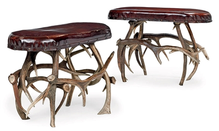 A PAIR OF ANTLER STOOLS
