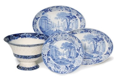 A GROUP OF WEDGWOOD BLUE AND W