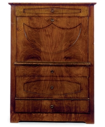 A GERMAN MAHOGANY SECRETAIRE A