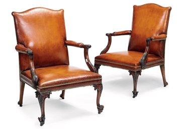 A PAIR OF MAHOGANY AND LEATHER