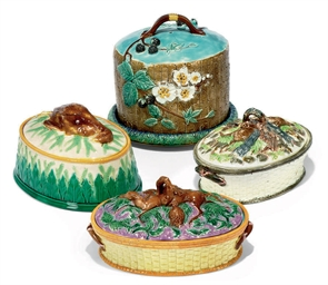 THREE ENGLISH MAJOLICA OVAL GA