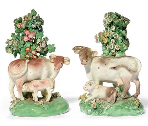 TWO DERBY PORCELAIN COW AND CA