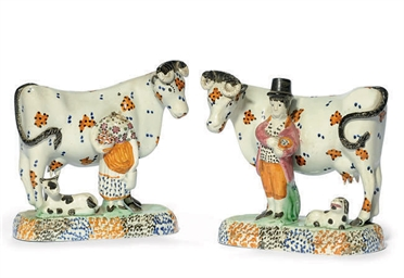 A PAIR OF PRATT-WARE COW GROUP