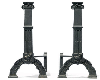 A PAIR OF CAST IRON ANDIRONS