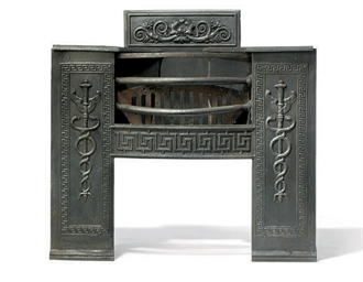 A GEORGE III CAST IRON HOB GRA