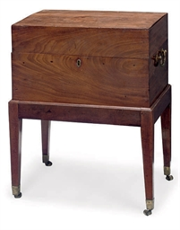A GEORGE III MAHOGANY CHEST-ON