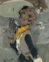 A girl with a yellow scarf and parasol