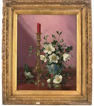 Anemones in a vase with a candlestick