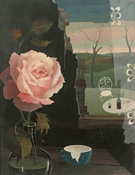 A rose in a vase by a window