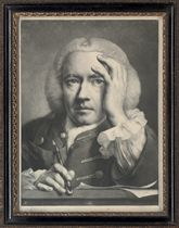 Life-sized Heads: Ipse (Self), Man directed and looking to front, wig, plain coat, short sleeve, before him a drawing-board with paper, right hand leaning upon it and holding a crayon, left hand to side; Old man, in profile to left, black velvet cap, spectacles held in right hand; Man, directed to front, facing and looking towards left, turban, right hand raised; and Young man, facing and looking to front, holding book open before him with left hand, lighted candle in candlestick to right