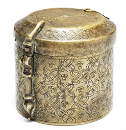 A ENGRAVED BRASS PYX