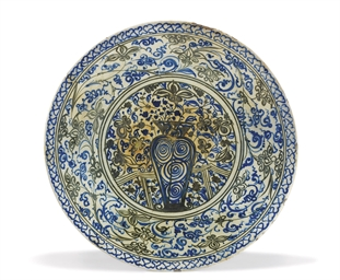 A LARGE SAFAVID BLUE, BLACK AN