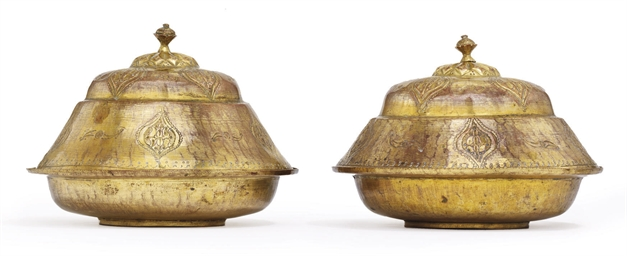 A PAIR OF OTTOMAN GILT-COPPER
