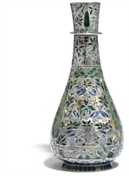 A SILVER AND ENAMELLED HUQQA B