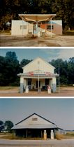 Union Gasoline Station, Near Greensboro, Alabama, 1974; J.F. Suttle Co. Store, Suttle, Alabama, 1973; and Country Store with Gasoline Pumps, Emelle, Alabama, 1974