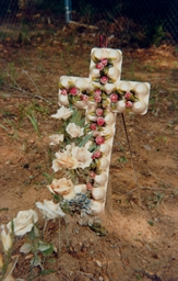 Grave with Egg Carton Cross, H