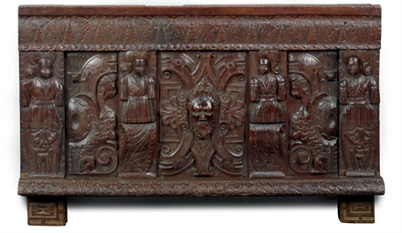 A JAMES I CARVED OAK PANEL