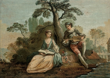 An amorous couple making music
