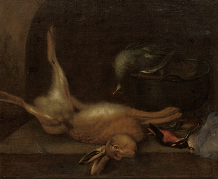 A dead hare and birds on a sto