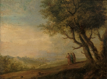 A wooded landscape with three