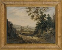 A wooded landscape with travellers on a track, a church beyond