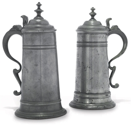 TWO GEORGE III PEWTER SPIRE FL