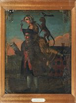 AN ENGLISH PAINTED METAL, PROBABLY ZINC, DOUBLE SIDED TAVERN SIGN ENTITLED 'THE MAN WITH A LOAD OF MISCHIEF'