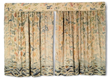 THREE CREWELWORK CURTAINS AND