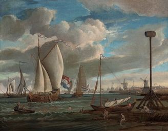 A view of Amsterdam harbour, w