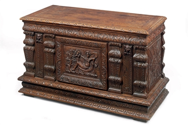 A FLEMISH CARVED OAK CHEST