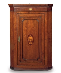 A REGENCY OAK AND INLAID HANGI