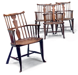A SET OF FOUR GEORGE III ASH,