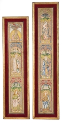A PAIR OF FRAMED ORPHREY PANEL