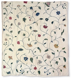 THREE PANELS OF CREWELWORK
