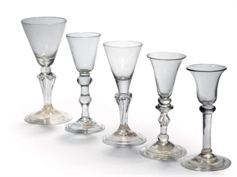 FIVE VARIOUS DRINKING GLASSES