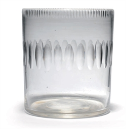 A CUT GLASS CYLINDRICAL BOTTLE