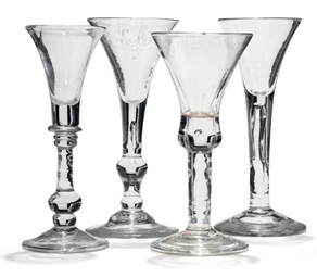 A BALUSTER WINE GLASS, A LIGHT