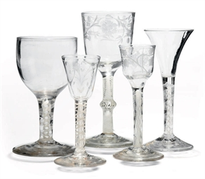 FIVE OPAQUE TWIST WINE GLASSES