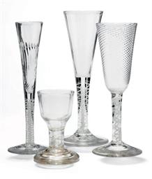 FOUR OPAQUE TWIST DRINKING GLA