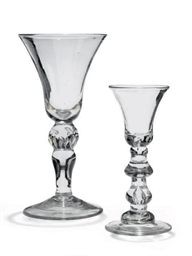 TWO BALUSTER WINE GLASSES