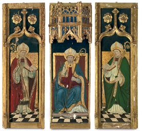 A triptych: A bishop saint ent
