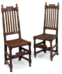 A PAIR OF CHARLES II OAK BACK-