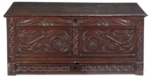 A CHARLES II OAK CHEST