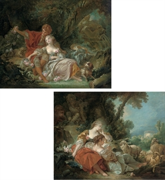 An amorous couple in a wooded