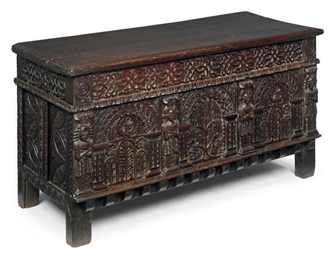 A CHARLES I CARVED OAK CHEST