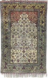 A SILK FEREGHAN PRAYER RUG
