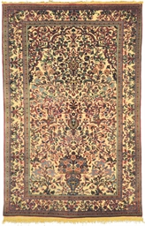 A SILK SOUF KASHAN PRAYER RUG